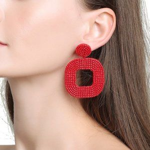 New! Anthro Red Beaded Drop Earrings